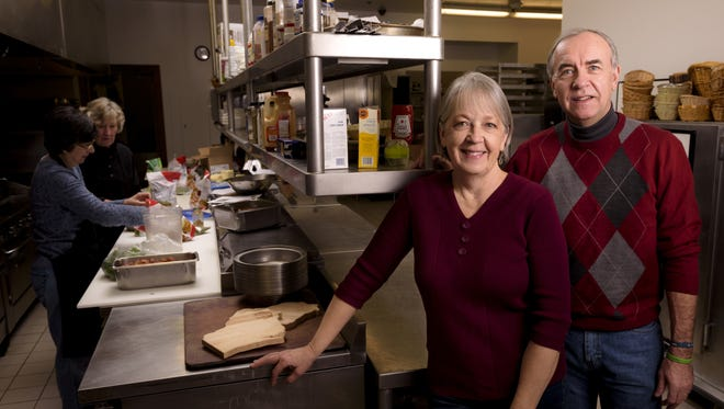 Amy and Gary Cebulski volunteer at Riverview Gardens in Appleton. Amy volunteers in the kitchen to help with cooking and preparing meals and Gary helps with meal delivery, among other tasks.