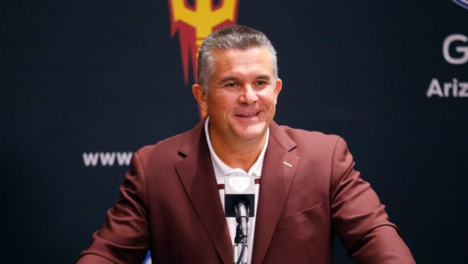 ASU football coach Todd Graham talks about their 2016 class on National Signing Day. Wednesday, Feb 3, 2016 in Tempe, AZ.