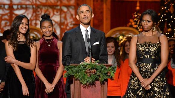 Malia Obama, Sasha Obama, U.S. President Barack Obama,