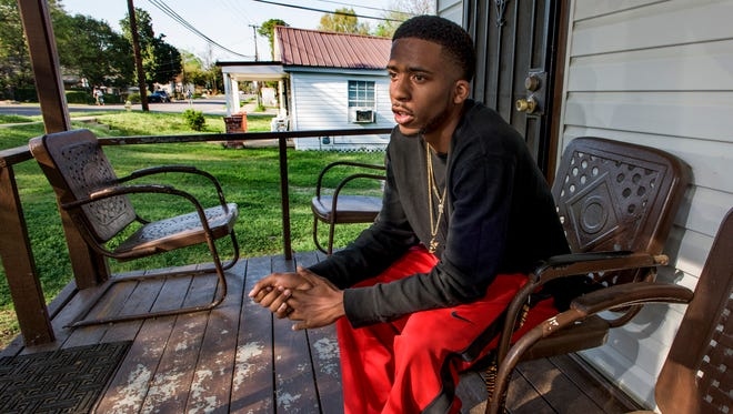 Dominic Alexander visits his grandmothers home in Montgomery, Ala. on Friday, March 25, 2016.