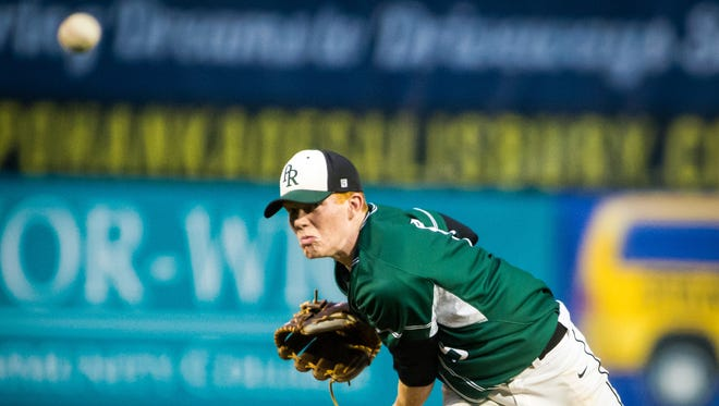 Parkside pitcher Sean Fisher (15) throws against Colonel Richardson during the Bayside Championship on Wednesday, May 11 at Arthur W. Perdue Stadium in Salisbury.