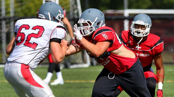 Western Oregon defensive lineman Casey Gates during practice, Tuesday, August 25, 2015, in Monmouth, Ore.