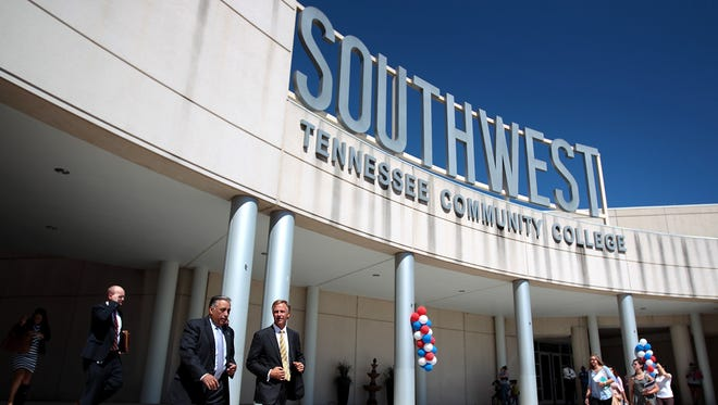 Tennessee Governor Bill Haslam leaves the Bert Bornblum Library at the Macon Cove campus of Southwest Tennessee Community College following an event to celebrate the Tennessee Promise program.