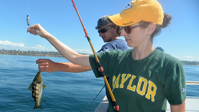 Leah McCoy admires a small calico bass before releasing it back into the Pacific Ocean near Oceanside, Calif.