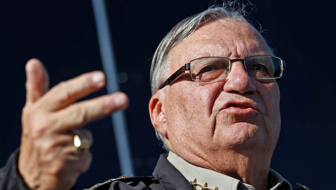 FILE - In this Jan. 9, 2013, file photo, Maricopa County Sheriff Joe Arpaio speaks to reporters in Phoenix, Ariz.