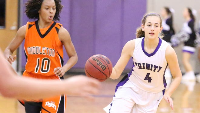 TCA's Macey Lee dribbles the ball against Middleton last week.