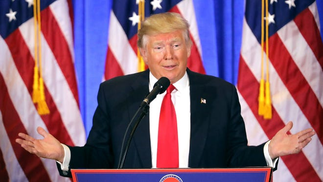 President-elect Donald Trump speaks at his news conference at Trump Tower  on Jan. 11, 2017, in New York City.