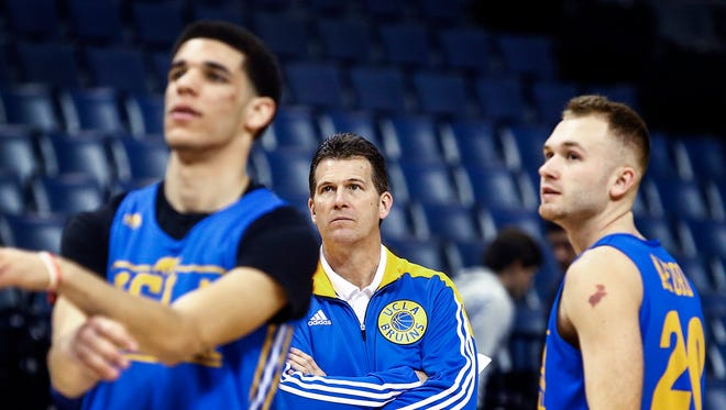 UCLA head coach Steve Alford (middle) watches his team, including Lonzo Ball (left) and Bryce Alford, during the NCAA South Regional Sweet Sixteen practice day at FedExForum. The No. 3 seed Bruins will take on No. 2 seed Kentucky on Friday.