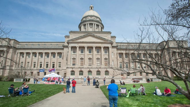 About 50 supporters of President Donald Trump rallied at the Kentucky State Capital. The grass-roots event, sponsored by MAGAMarch (Make America Great Again March) is one of 44 in 38 states today. March 25, 2017