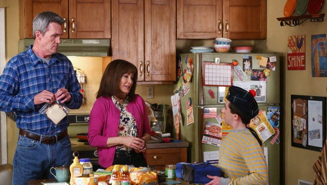 Neil Flynn (from left), Patricia Heaton and Atticus Shaffer in ABC's 'The Middle,' which gently pokes fun at the struggles of average American families.