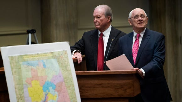 Sen. Jabo Waggoner, left, and Sen. Gerald Dial, right, during discussion of the reapportionment bill on the senate floor at the Alabama Statehouse in Montgomery, Ala., on Thursday May 4, 2017. Lawmakers must redraw legislative districts after a panel of federal judges tossed out 12 districts, ruling they were unconstitutionally gerrymandered on racial lines.