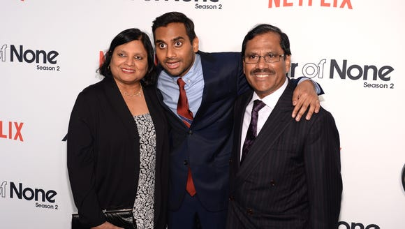 Aziz Ansari, here with his real-life and TV parents