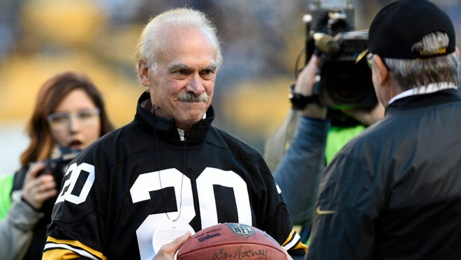 Veteran and former Pittsburgh Steelers Rocky Bleier takes part in pregame Salute to Service festivities before an NFL football game between the Pittsburgh Steelers and the Dallas Cowboys in 2016
