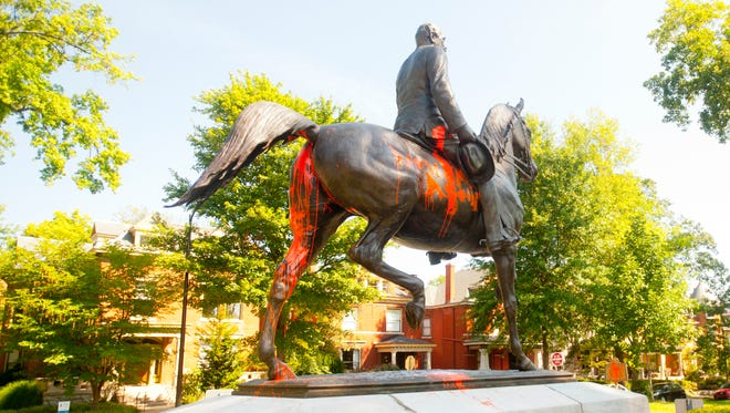 The John Breckinridge Castleman statue and historical marker in the Cherokee Triangle neighborhood was covered in orange paint. The paint was discovered early Sunday morning, a day after violence erupted in Charlottesville, Virginia, following a white supremacist rally. Castleman was an officer in the Confederate Army. In the Spanish American war, he was commissioned a colonel by the U.S. Army and after his retirement, he was named a brigadier general.  Aug. 13, 2017