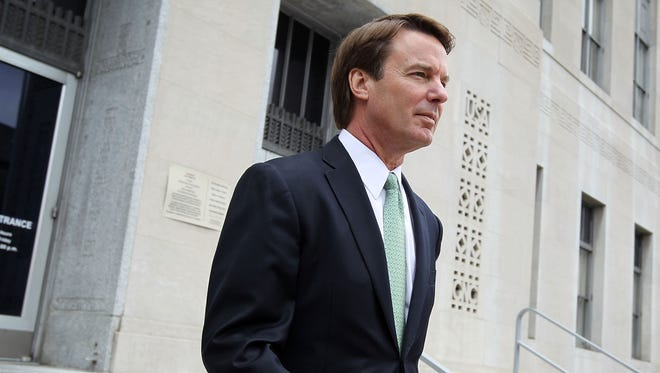 Former Democratic presidential candidate and former Sen. John Edwards, D-N.C., Leaves during a lunch break during the fourth day of jury deliberations at a federal courthouse May 23, 2012 in Greensboro, N.C.