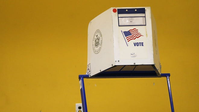 A voting station in New York.