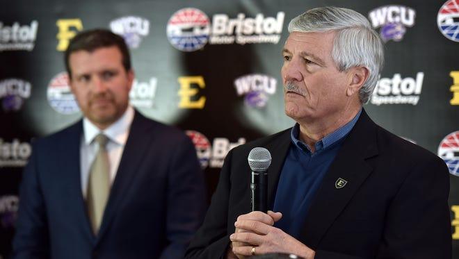 ETSU football coach Carl Torbush, right, was 11-22 in three seasons as coach of the Bucs.