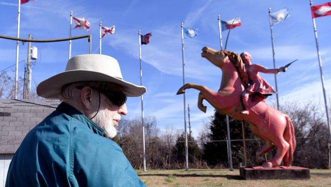 Bill Dorris, owner of a private statue of Confederate Gen. Nathan Bedford Forrest, stands on his property visible from Interstate 65 south of Nashville. His Forrest statue was painted pink Dec. 27, 2017.