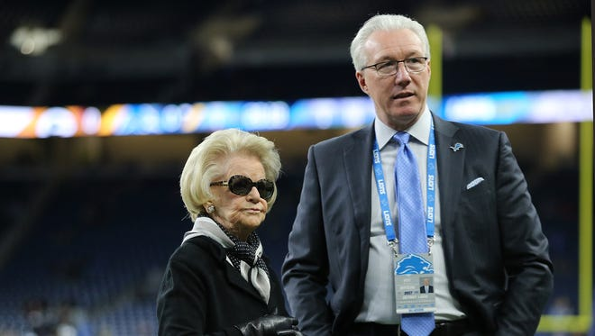 Detroit Lions owner Martha Firestone Ford talks with team president Rod Wood before the game against the Green Bay Packers on Sunday, Dec. 31, 2017 at Ford Field in Detroit.