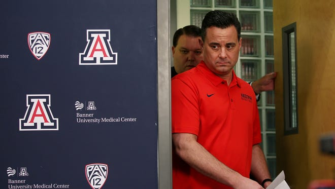 Sean Miller enters the interview room before making a statement on his future with the Arizona Wildcats basketball program at McKale Center on March 1, 2018, in Tucson, Ariz.