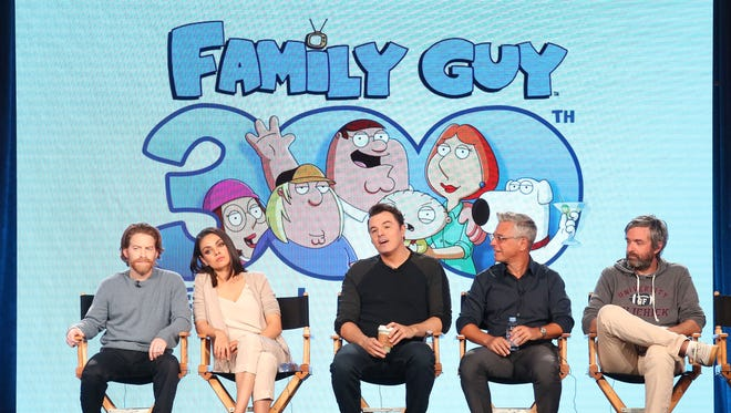 PASADENA, CA - JANUARY 04:  (L-R) Actors Seth Green and Mila Kunis, creator/executive producer Seth MacFarlane, executve producer/showrunner Rich Appel, executive producer/showrunner Alec Sulkin of the television show Family Guy speak onstage during the FOX portion of the 2018 Winter Television Critics Association Press Tour at The Langham Huntington, Pasadena on January 4, 2018 in Pasadena, California.  (Photo by Frederick M. Brown/Getty Images)
