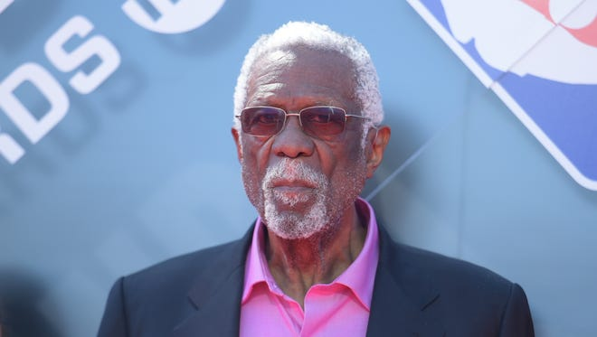 Bill Russell arrives at the NBA Awards on Monday.