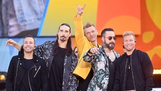 """Howie D., left, Kevin Richardson, Nick Carter, AJ McLean and Brian Littrell of the Backstreet Boys perform on ABC's """"Good Morning America"""" in Central Park, Friday, in New York."""