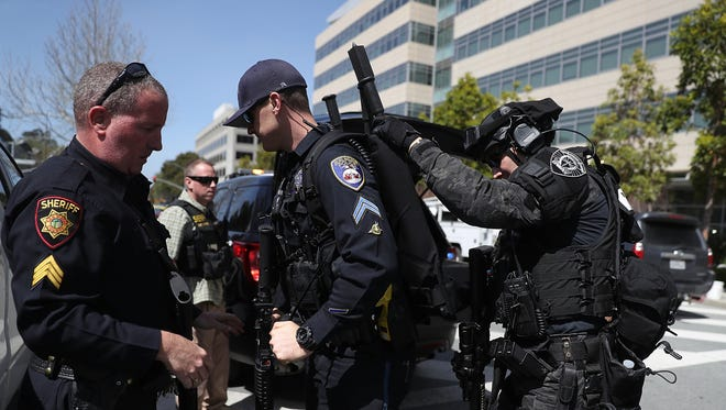 Police outside YouTube's headquarters on April 3, 2018.