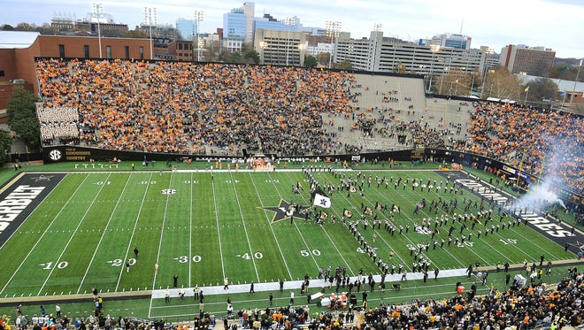 There was a lot of orange in the stands and empty spaces in the Vanderbilt section as the University of Tennessee prepared to play Vanderbilt at Vanderbilt Stadium in 2014.