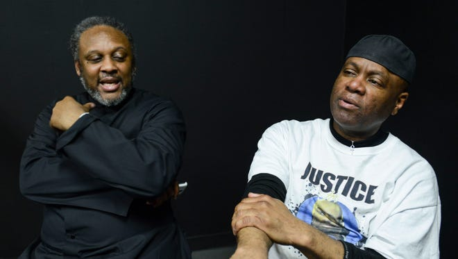 L'Sana D'Jahspora (at right), father of Cinque D'Jahspora, talked to The Jackson Sun Tuesday morning about his son, who was shot and killed by a Jackson police officer in November. D'Jahspora, along with a friend of the family, Dr. Randy Short (at left), talked about justice for Cinque and asked for unedited video from the officer's dashboard camera.