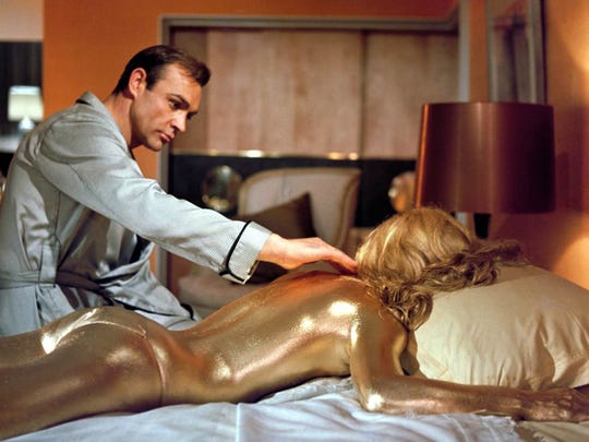"Sean Connery is James Bond in ""Goldfinger."""