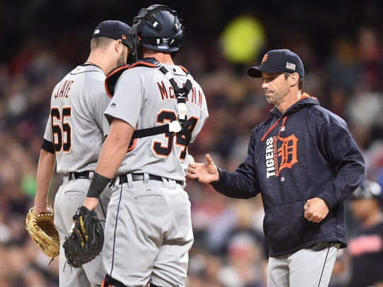 Tigers manager Brad Ausmus (7) relieves pitcher Myles Jaye (65) during the fourth inning on Monday, Sept. 11, 2017, in Cleveland.