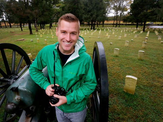 Mikah Myer visits the Stones River National Battlefield on Monday, Oct. 23, 2017, as part of his 3 year tour of all of the US National Parks.