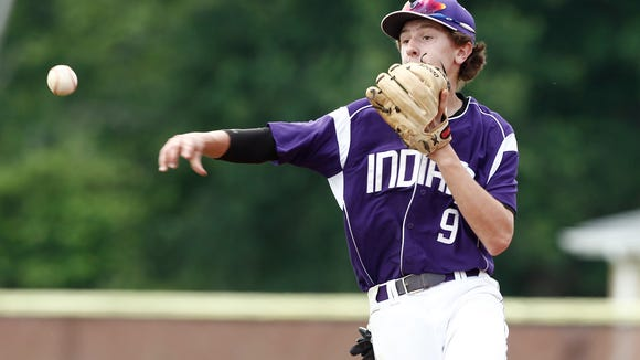 John Jay second baseman Brett Paulsen (9) makes a throw toi first during their 3-1 loss to Wallkill in the class A regional final baseball game at Arlington High School in Lagrangeville on Saturday, June 04, 2016.