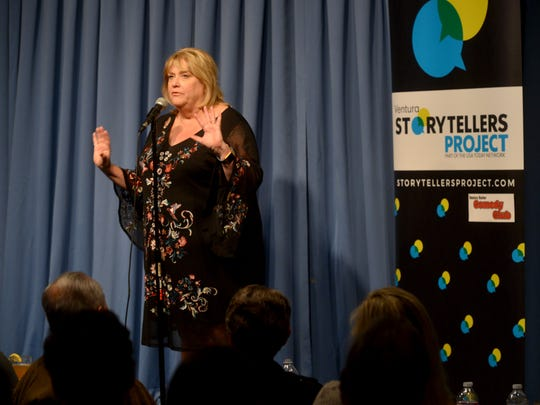"""Communications specialist Kim Gregory shares a story of personal loss and finding new love during the first Ventura Storytellers Project, titled """"Love, Romance and Other Disasters,"""" held at the Ventura Harbor Comedy Club on Wednesday."""