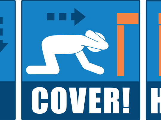 The ShakeOut drill encourages those stuck in an earthquake to duck, take cover and hold on until the shaking stops.