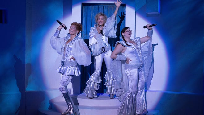 """(From left) Gabrielle Mirabella, Georgia Kate Haege and Carly Sakolove sing during a scene from """"Mamma Mia."""" Sakolove will perform at 8 p.m. Nov. 7 at """"Gallery 50 Live!"""" In Bridgeton."""