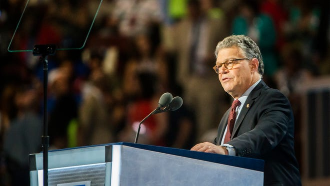 Senator Al Franken speaks at the Democratic National Convention at the Wells Fargo Center in Philadelphia on Monday.