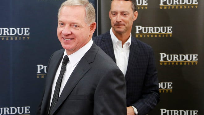Mike Bobinski is introduced as the new athletic director of Purdue University, Tuesday, August 9, 2016. In the background is Michael Berghoff, Chairman of the Purdue Board of Trustees. Bobinski had been the athletic director at Georgia Institute of Technology since 2013.