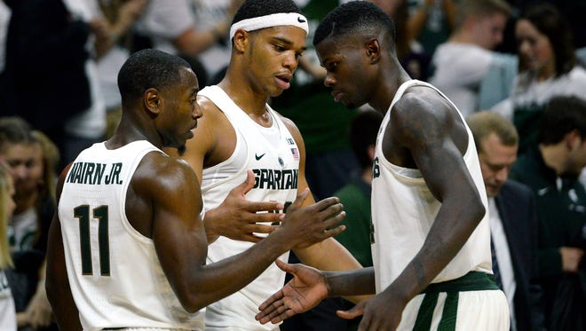 From left to right, Tum Tum Nairn, Miles Bridges and Eron Harris all figure to be in the starting lineup for the Spartans when the season opens Friday night.