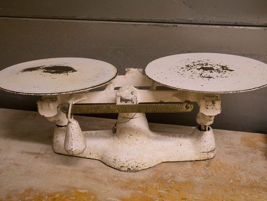 A well-worn scale in the back room dates back to the