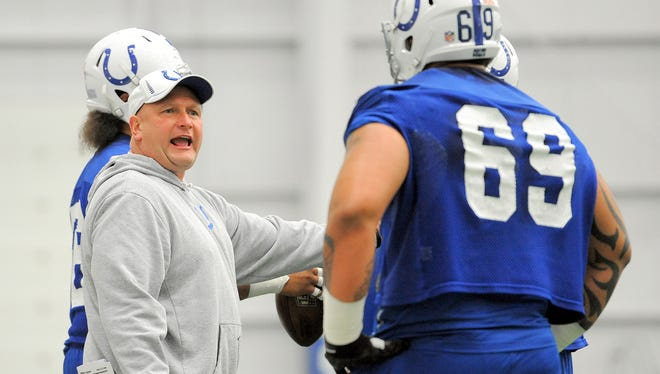 Indianapolis Colts offensive line coach Joe Gilbert talks with his players during the rookies mini-camp Saturday afternoon at the Colts Complex.  MATT KRYGER /  THE STAR