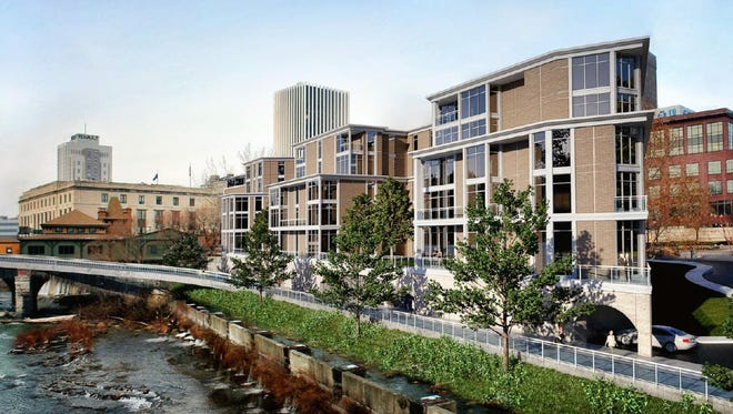 A riverfront view of a retail and apartment complex proposed at Court Street and South Avenue by Morgan Management.