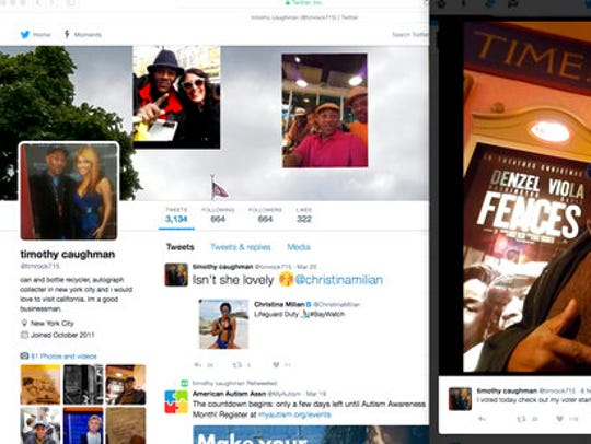 This composite screen shot shows the Twitter page of