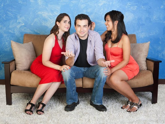 A man stuck in the middle of two women a love triangle