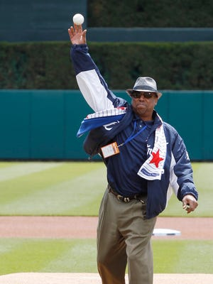Former Detroit Tiger Lou Whitaker throwing out cermonil first pitch to David Price before the Tigers baseball game against the Cleveland Indians on Sunday, April 26, 2015 in Detroit.