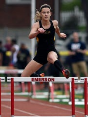Anne Karach of Cresskill finished first in the Patriot Girls 400-meter hurdles during the NJIC Track and Field championships in Emerson, NJ on Monday, May 1, 2017.