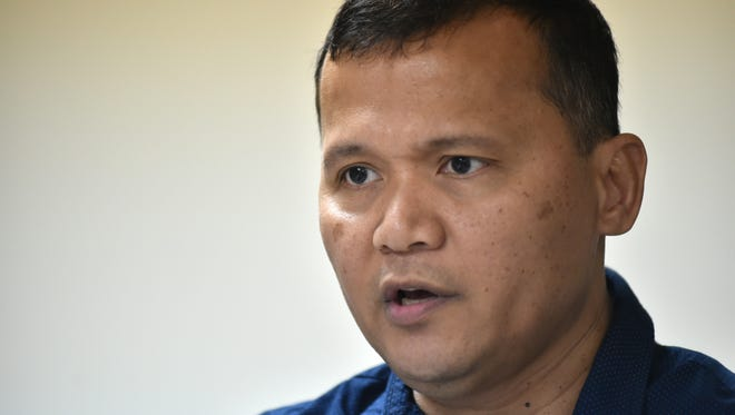 Roy T. Quintanilla responds to Archbishop Anthony Apuron's denial of sexual abuse allegations during an interview at the Pacific Daily News on Wednesday, May 18. Quintanilla on Tuesday publicly accused Apuron of sexually abusing him when he was a 12-year-old altar boy in Agat.