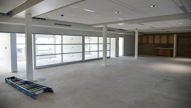 The senatorial office portion of the new Guam Legislature building nears completion in Hagåtña on Oct. 19. The new space can accommodate all senators, some of who have been renting commercial office spaces at a combined cost of more than $500,000 a year.