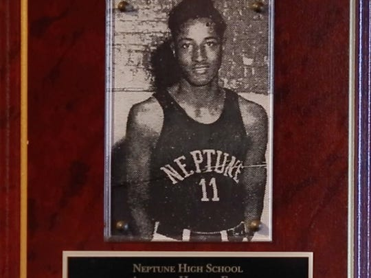 A plaque commemorating Ermon Jones' induction into the Neptune High School Athletic Hall of Fame.